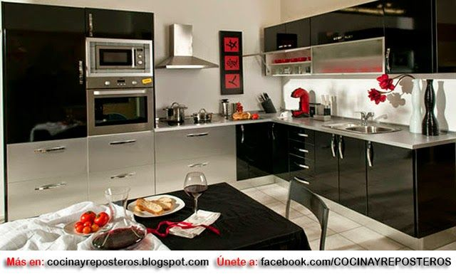 Decorar cocinas en color negro hogar y deco en 2019 for Color credence cocina blanca
