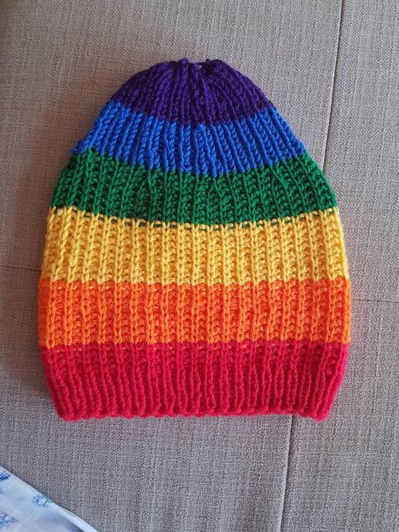 Rainbow knit hat Gay hat LGBT clothes Hippie Tam slouchy beanie Gay pride  clothes Long handmade cap a04d3908bb6