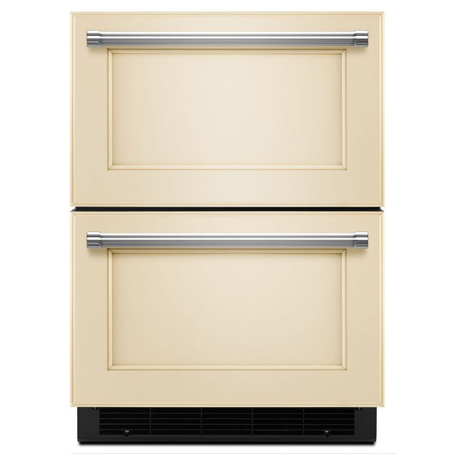Kitchenaid in builtin double drawer refrigerator panel ready