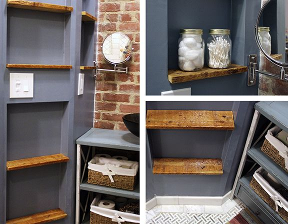 Photo Image rustic bathroom exposed brick wall niches with reclaimed wood shelves DIY
