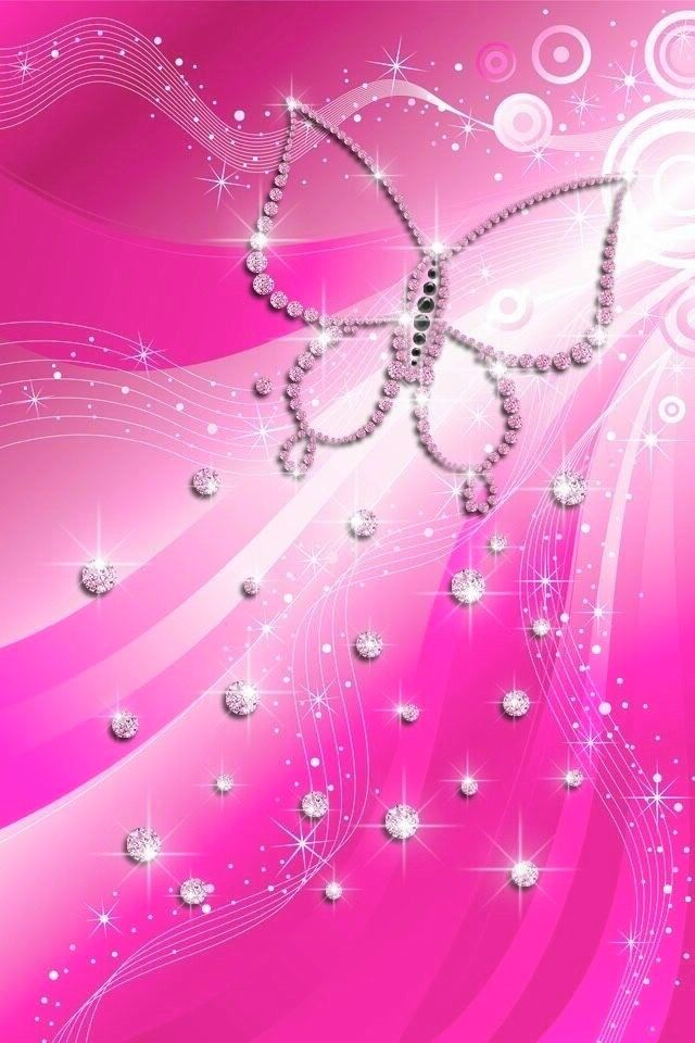Wallpaper Pink Wallpaper Girly Butterfly Wallpaper Bling Wallpaper Cute glitter pink butterfly wallpaper