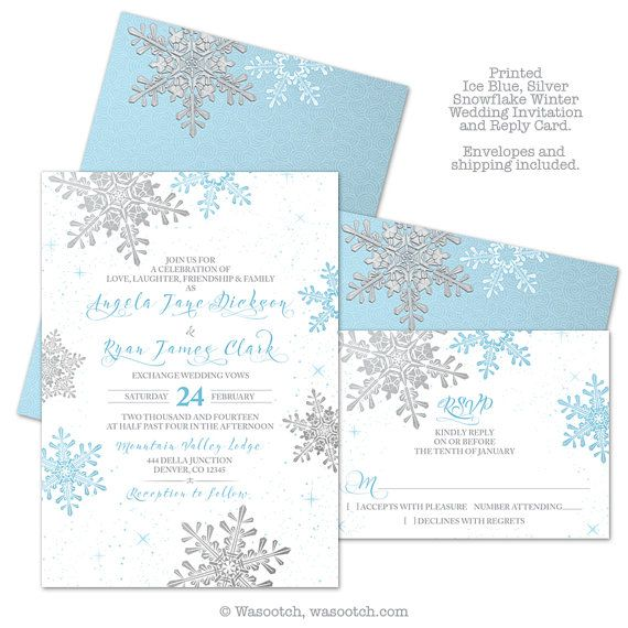 Ice Blue Silver White Snowflake Winter Wedding Invitation And Rsvp Reply Card Printed Comes With Envelopes Multiple Paper Types To Choose From