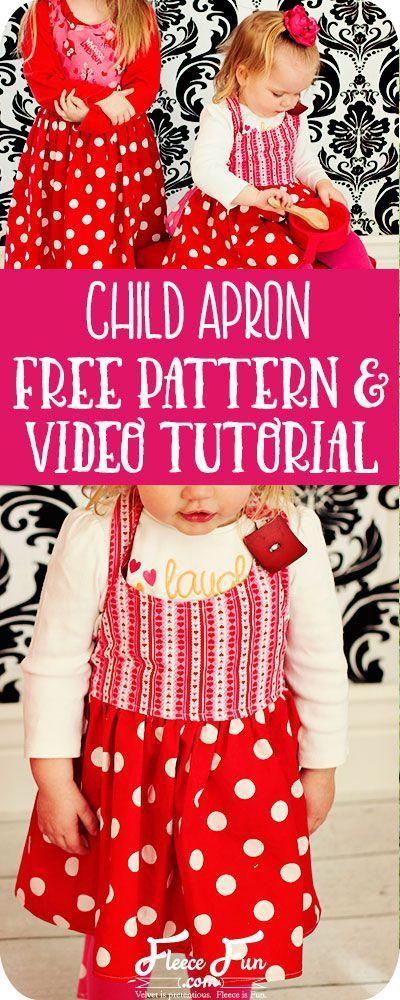 Child Apron Tutorial Free Pattern | Servilleta, Mantel y Cocinas