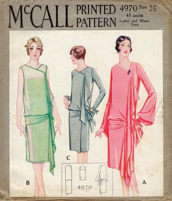 1920s 1930s vintage repro sewing pattern flapper day or evening ...