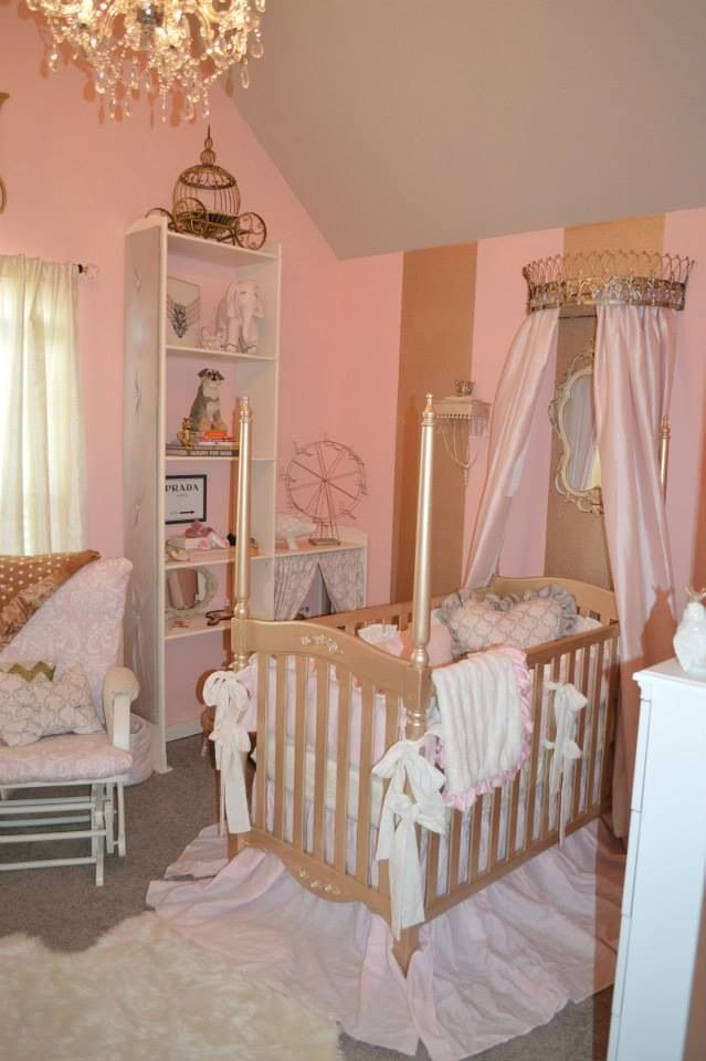 My Baby Girl S Gold And Pink Nursery Painted Baby