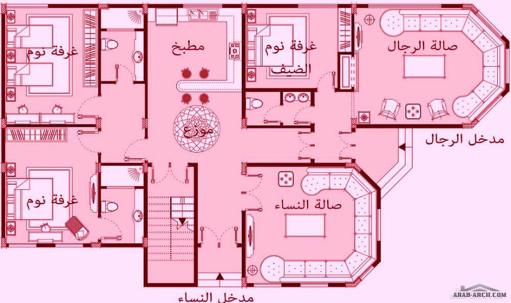 تصميم طابق واحد بحديقة مساحة البناء 210م من اعمال Ashraf Nassab Affordable House Plans Family House Plans Luxury House Plans