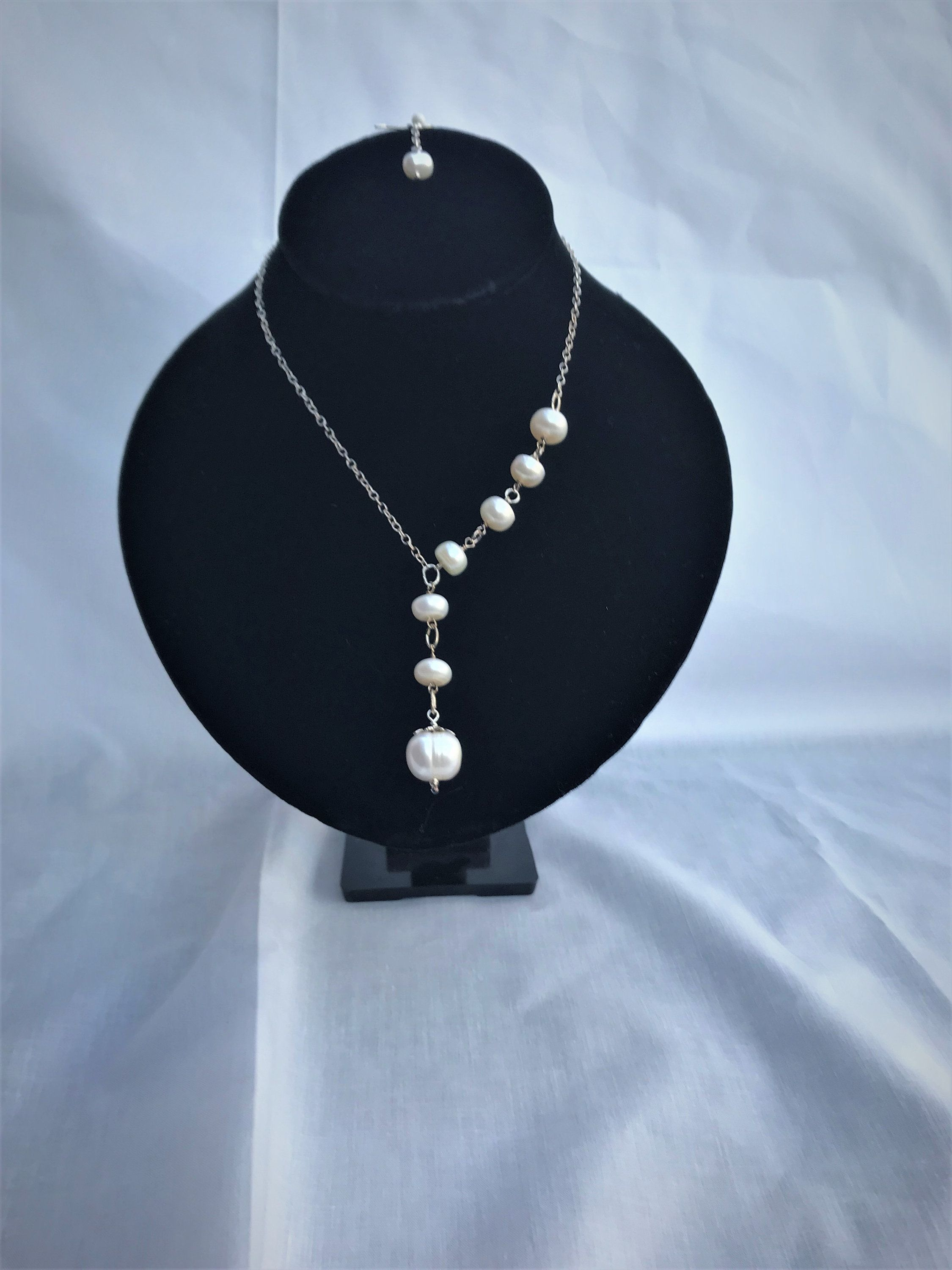 Sterling Silver White Freshwater Pearl Necklace Earring Set