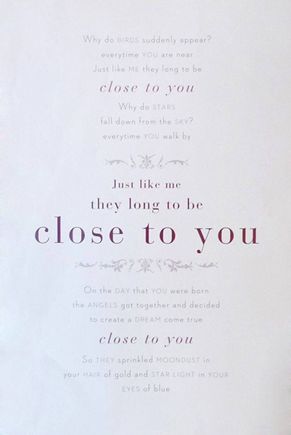 Close to you - The Carpenters | PTC_Music | Pinterest | Carpenter ...