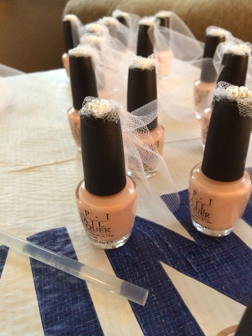 Bridal shower veil nail polish favors Bridal shower veil