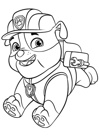 Paw Patrol Rubble With Backpack Coloring Page Paw Patrol Ausmalbilder Tiere Zum Ausmalen Rubble Paw Patrol