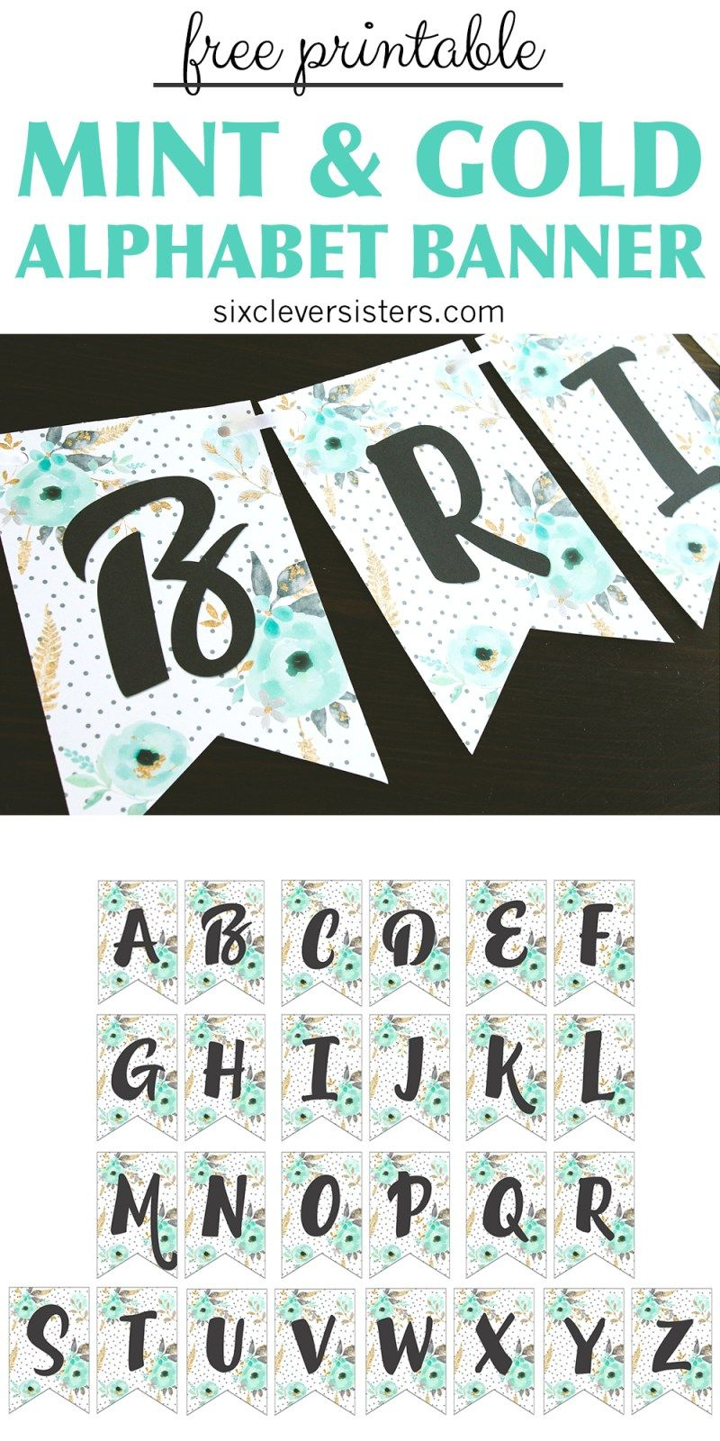 Free Printable Alphabet Banner Mint And Gold  Free Printable