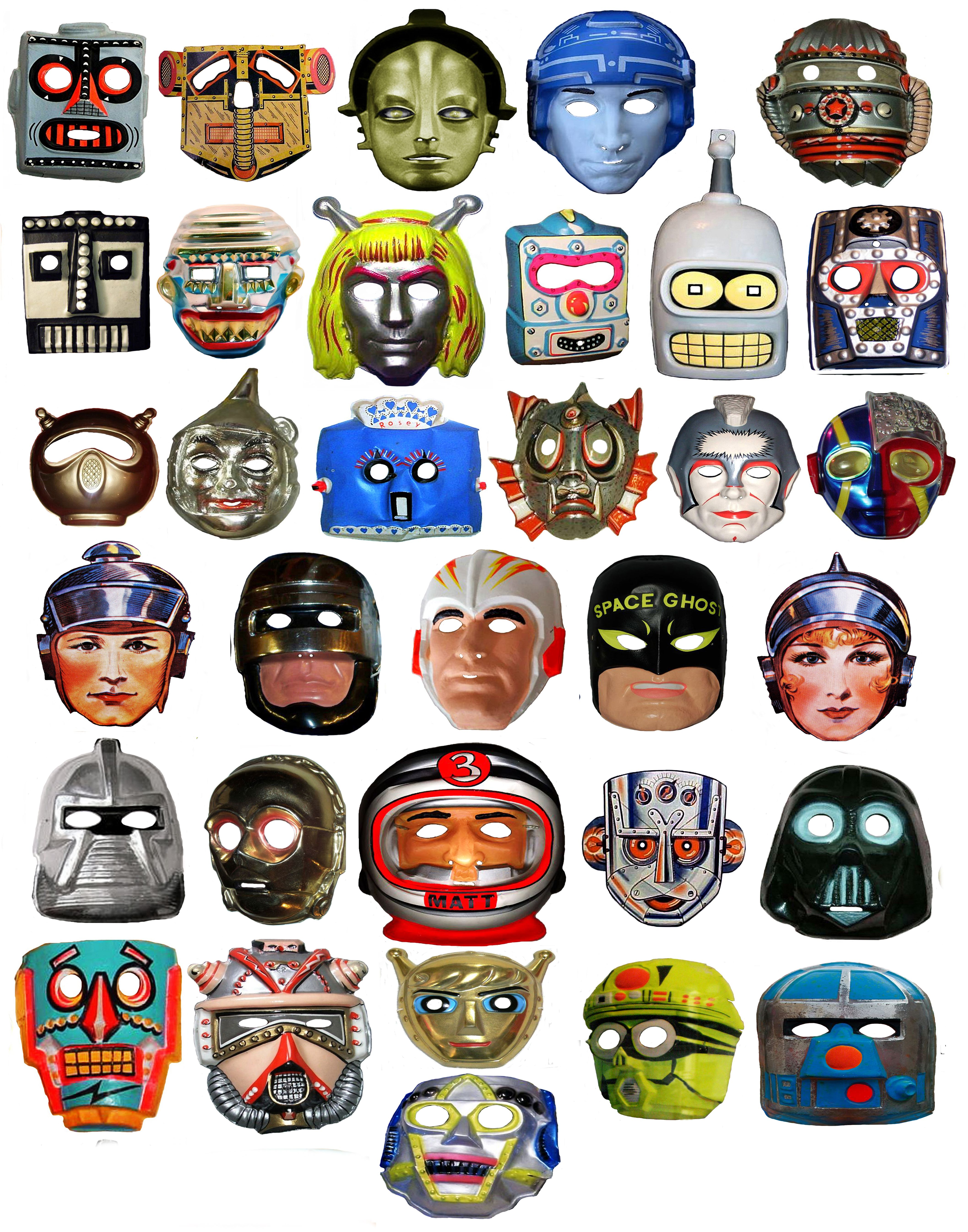 Vintage Halloween Masks (although-- I think I see Bender Rodriguez ...