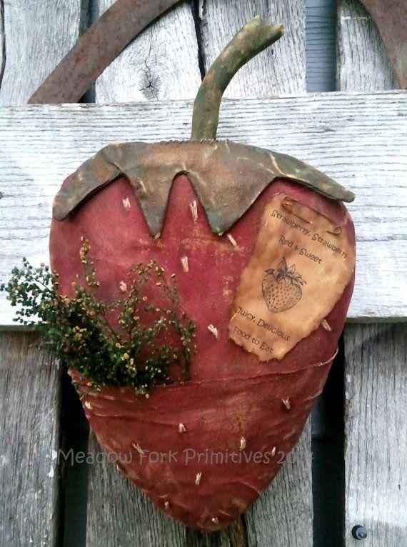 Photo of Made to Order – Grungy Primitive Summer Strawberry Pocket Door Greeter – Hanger-Folk Art – FAAP, HAFAIR TEAM