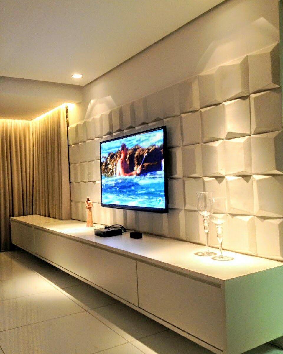 Sala De Estar E Tv O Branco Predominante Na Composi O O Painel  -> Sala Parede Gelo