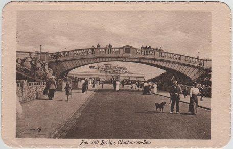 Clacton-on-Sea, Pier and Bridge, Essex, Valentine vintage postcard, c.1914.