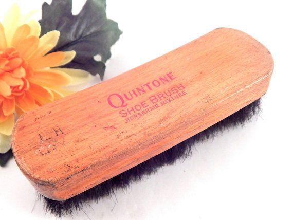 Quintone Shoe Brush Horsehair Mixture Wooden Base VTG Mens Grooming Accessory