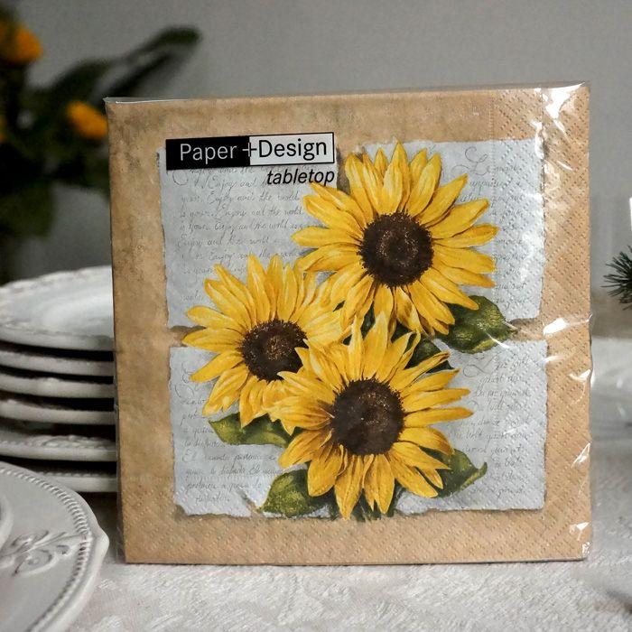 Paper Napkins-printed paper serviette for decoupage Sunflower poetry lunch napkin serviettes 20pcs