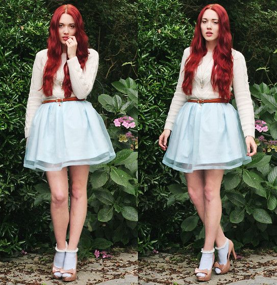 Megan McMinn - Dress, Belt, Yumi Jumper, Topshop Socks, Dorothy Perkins Heels - DUCK EGG BLUE.