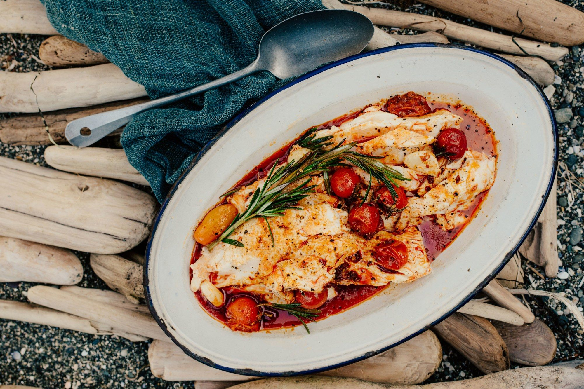 Halibut With Spicy Sausage Tomatoes And Rosemary Recipe Halibut Recipes Best Halibut Recipes Grilled Halibut