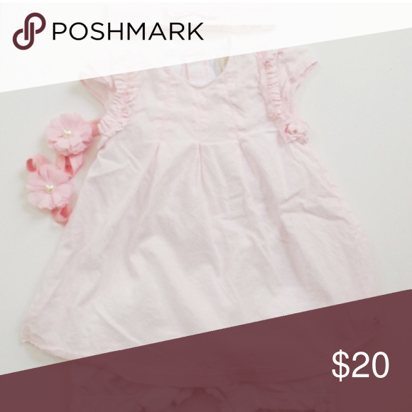 Emile Et Rose Dress Baby pink dress worn once for a wedding, comes with hair bow as pictured, will throw in flower barefoot sandal. Size is 6m Attached bloomer cover is not visible when worn. Dresses Formal