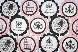 24 Elegant Crib, Chic Damask Chandelier Baby Shower Cupcake Toppers (Pink and Black)