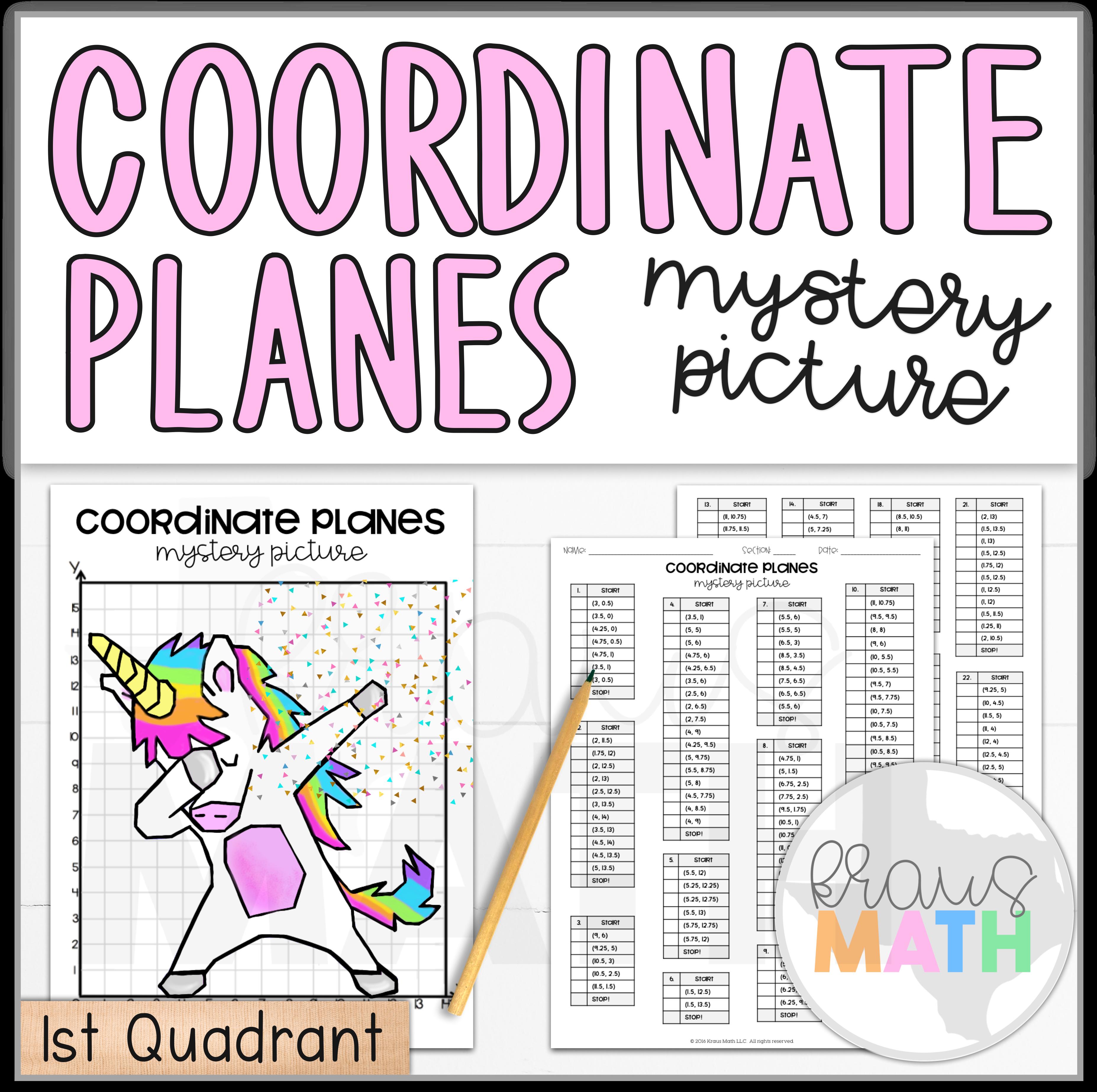 Unicorn Dab   Coordinate Plane Mystery Pictures   Kraus Math   Coordinate  plane [ 3692 x 3708 Pixel ]