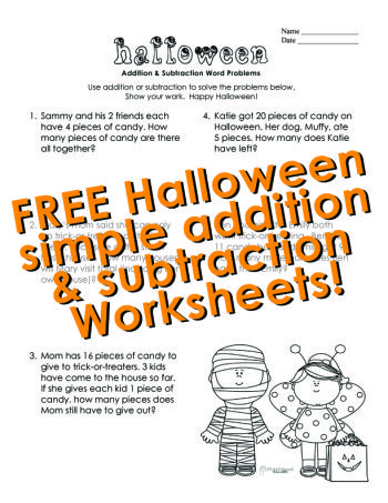 Squarehead Teachers simple addition and subtraction Halloween - sample word problem worksheets