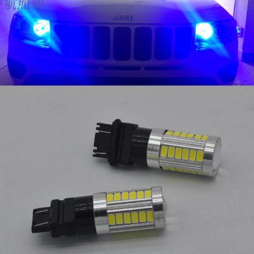 2pcs Blue Car 3156 3157 33 5730 Smd Led Rear Light Brake Bulb Fog