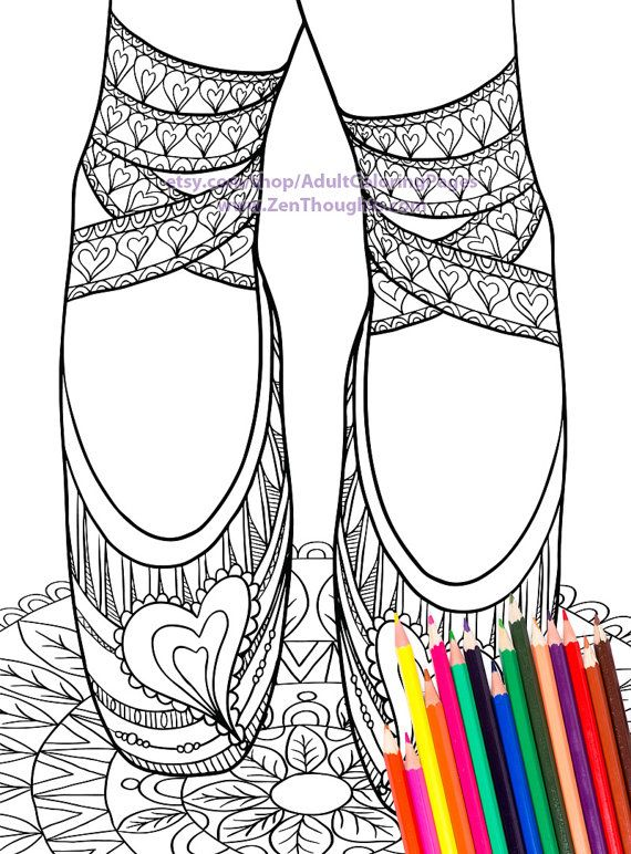 Printable Coloring Page LOVELY BALLET SLIPPERS