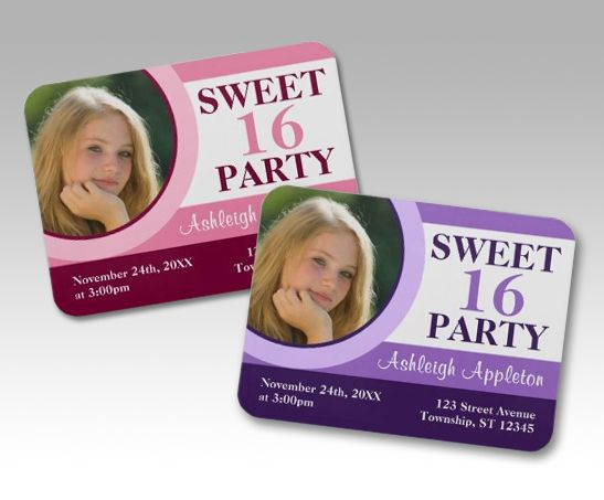 Sweet 16 Party Premium Flat Photo Invitation Magnets