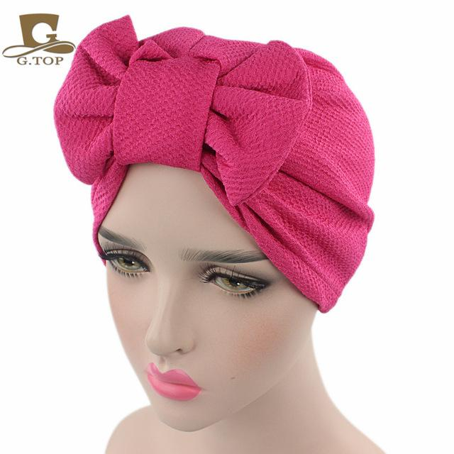 2df825a9f75 New women luxury bow Turban Hat Stylish Chemo cap detachable bowknot ...