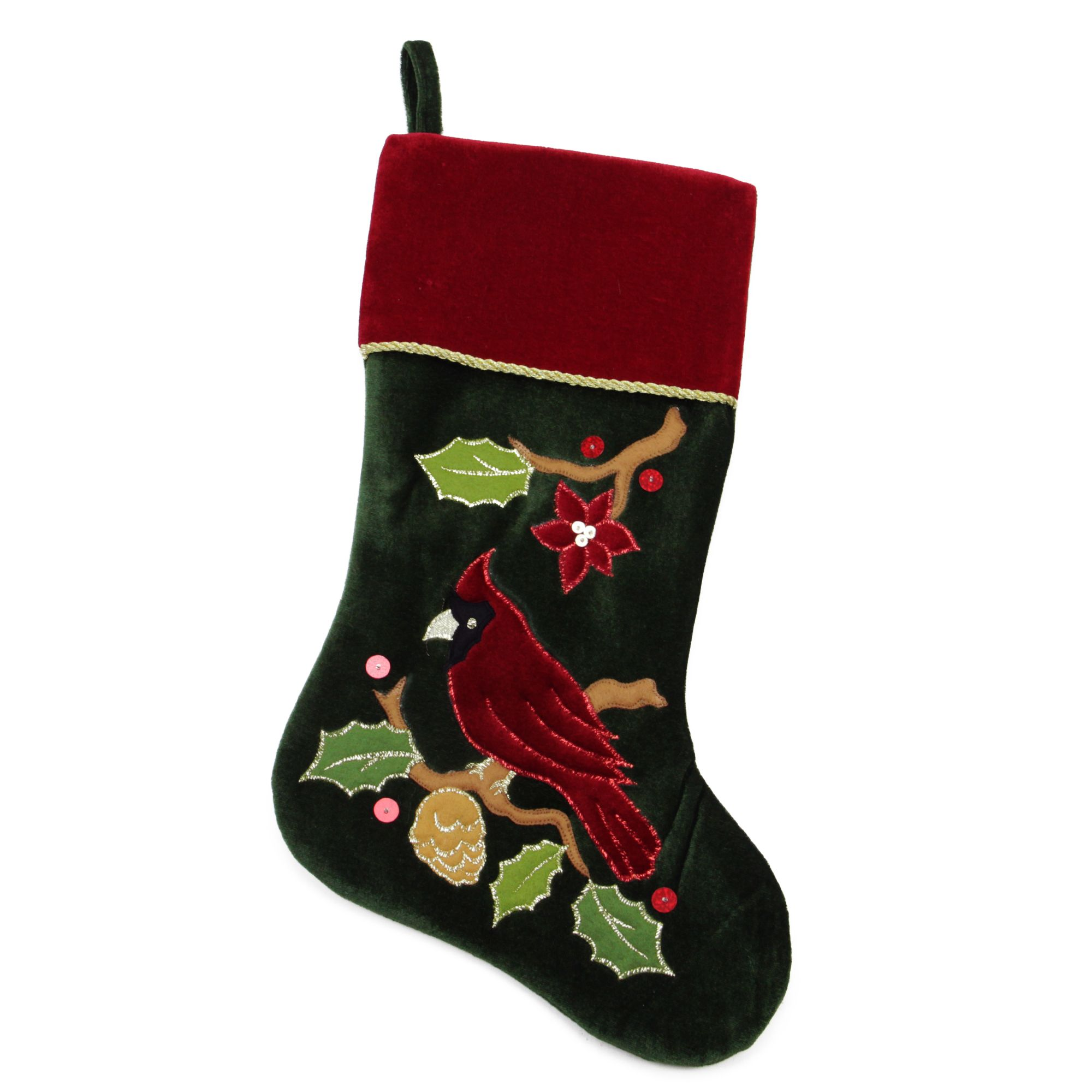 20 5 Red And Green Cardinal Embroidered Christmas Stocking Christmas Stockings Embroidered Christmas Stockings Diy Stockings