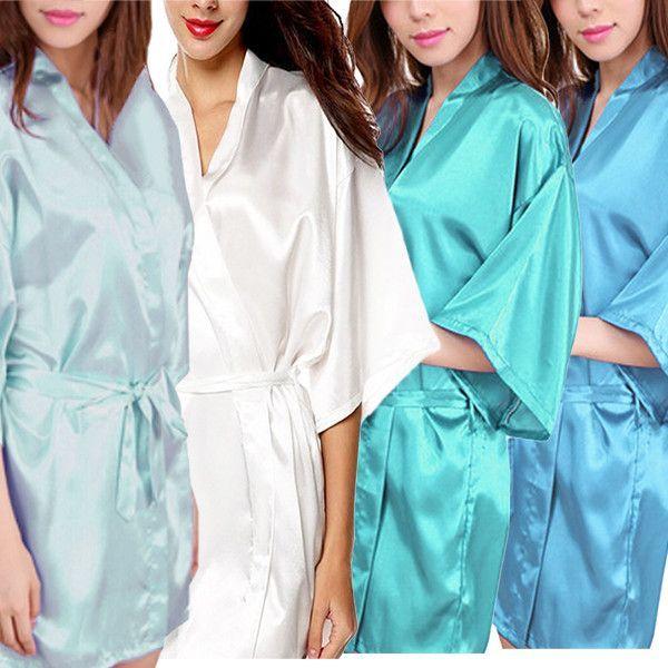Womens Short Kimono Solid Satin Lounge Robe