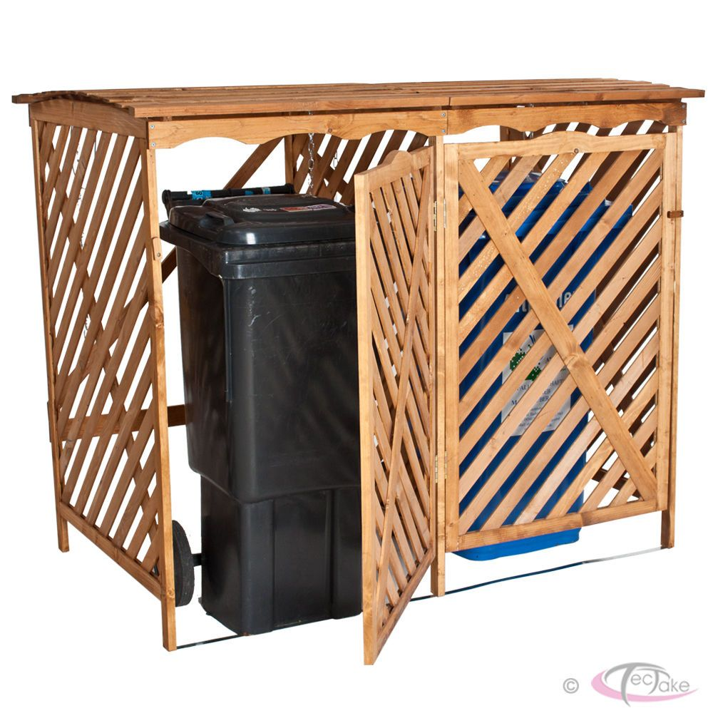 Cache Poubelle Abri Conteneur Container Enclos Double En Bois Bac Ordure Dechet Cacher Les Poubelles Abris Poubelle Et Bac De Rangement