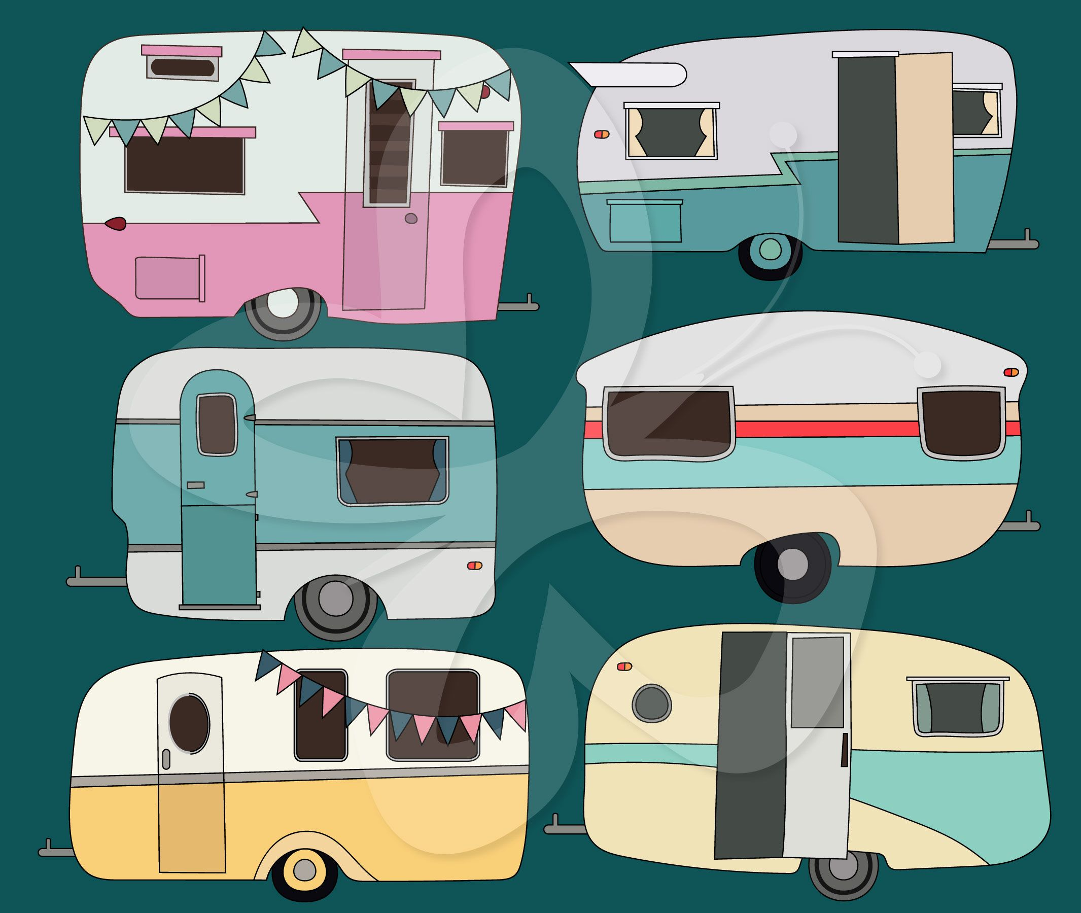Retro Caravan Clipart Set By Creative Collection High Quality For Personal And Commercial Use