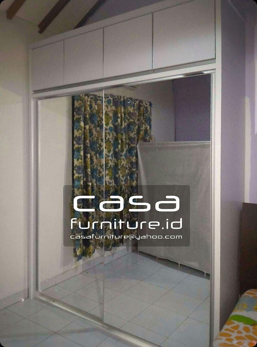 Lemari Pakaian 2 Pintu Geser Full Cermin Di Rempoa Ciputat Timur