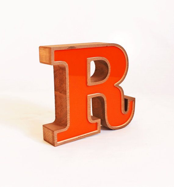 ORANGE Letter Wooden R, Block letter R, Vintage 1985 Letter R, Self
