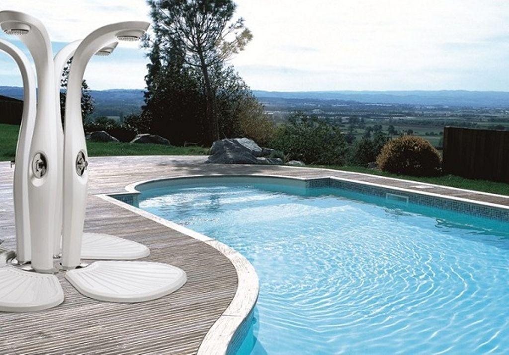 Modern Outdoor Shower Beside Swimming Pool Outdoor
