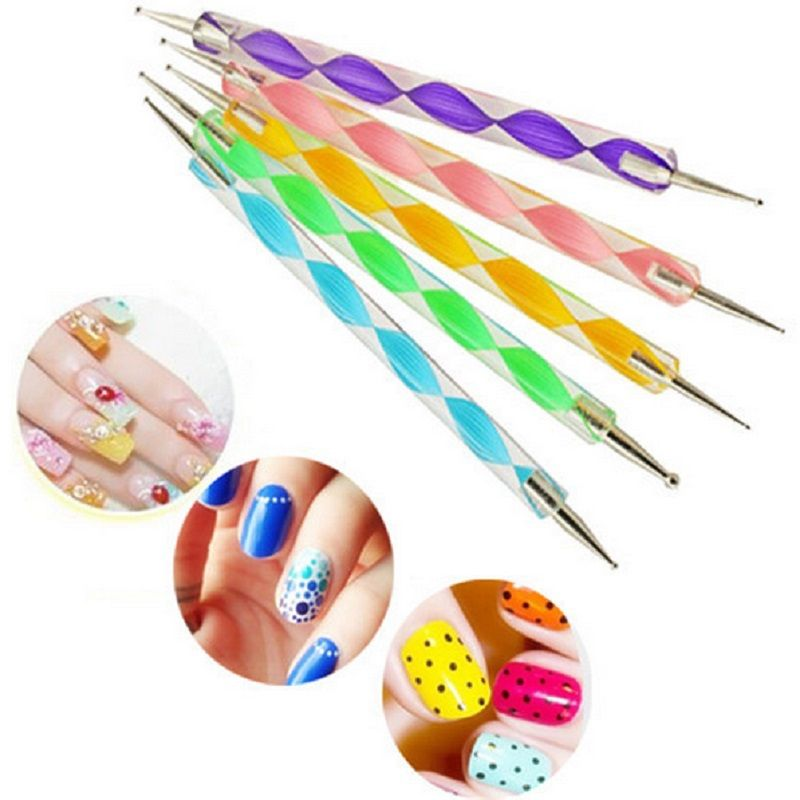 5pcs 2way Marbleizing Dotting Manicure Tools Painting Pen Diy Nail