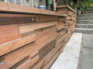 idea for covering up our cinder block garage siding to create more