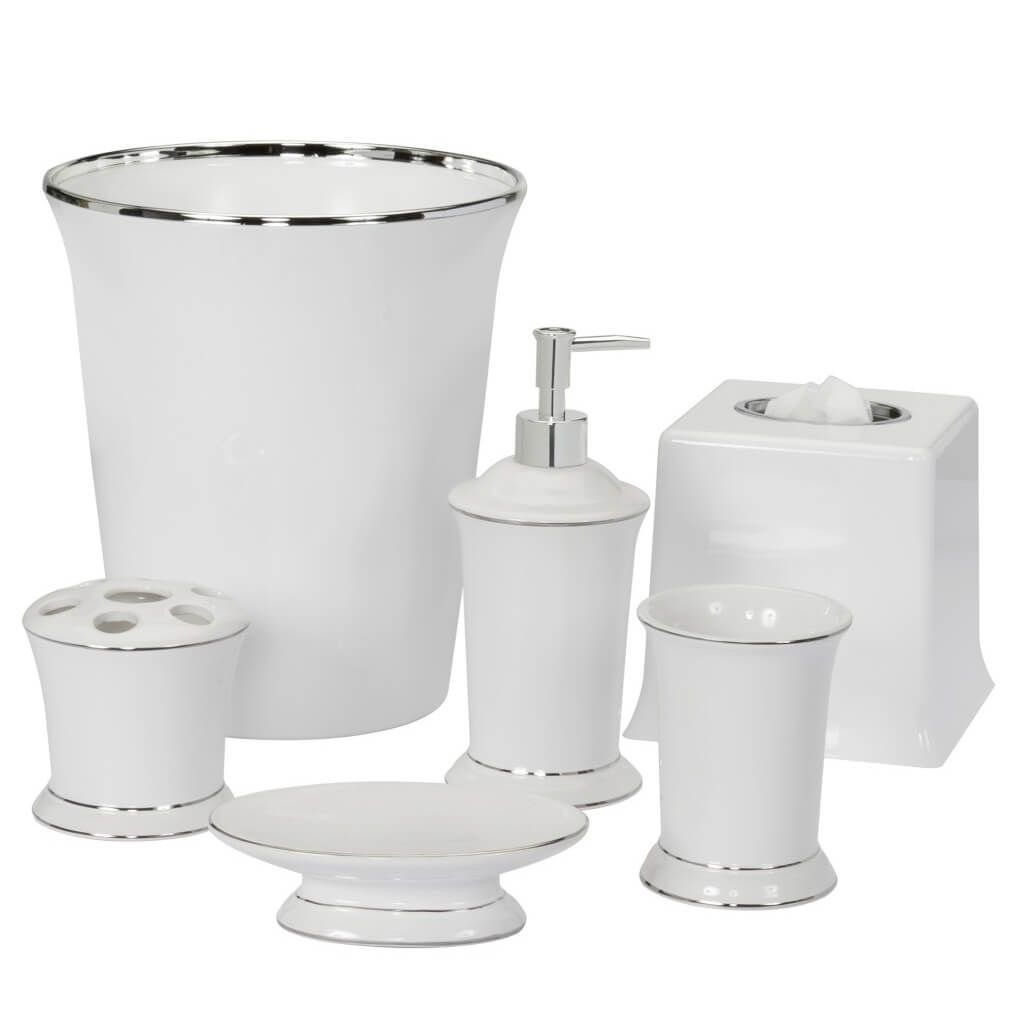 gray and white bathroom accessories | bathroom accessories