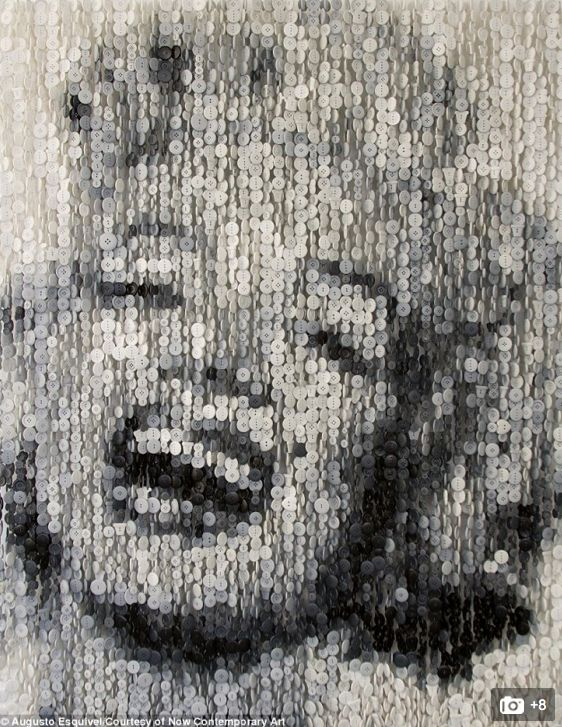 These monochrome installations of famous stars are amazingly made out of buttons.