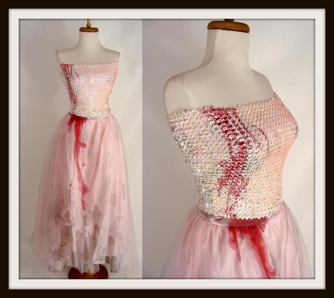 $94.00 FAIRY VAMPIRE PRINCESS Pink Sequins Blood Trickle Zombie Prom ...