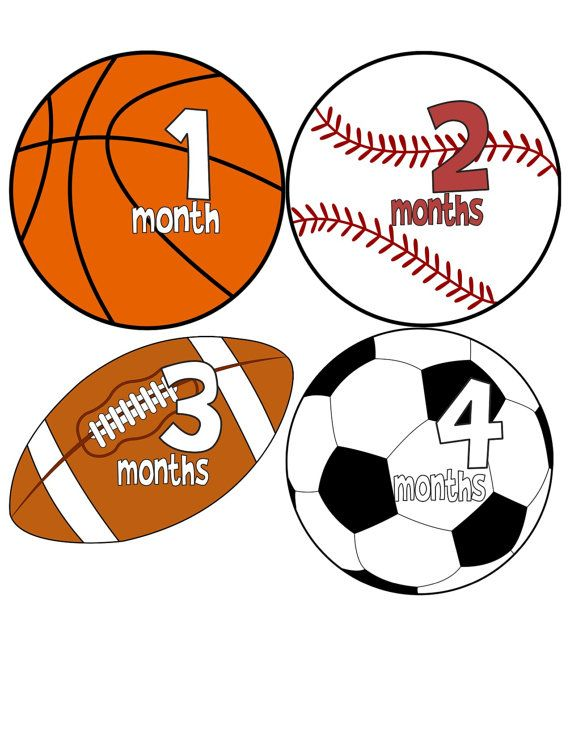 Monthly Onesie Stickers Boy Baby Month Stickers Baseball Football Soccer Ball Basketball Sports Baby Sho Baby Month Stickers Sports Baby Shower Monthly Onesies