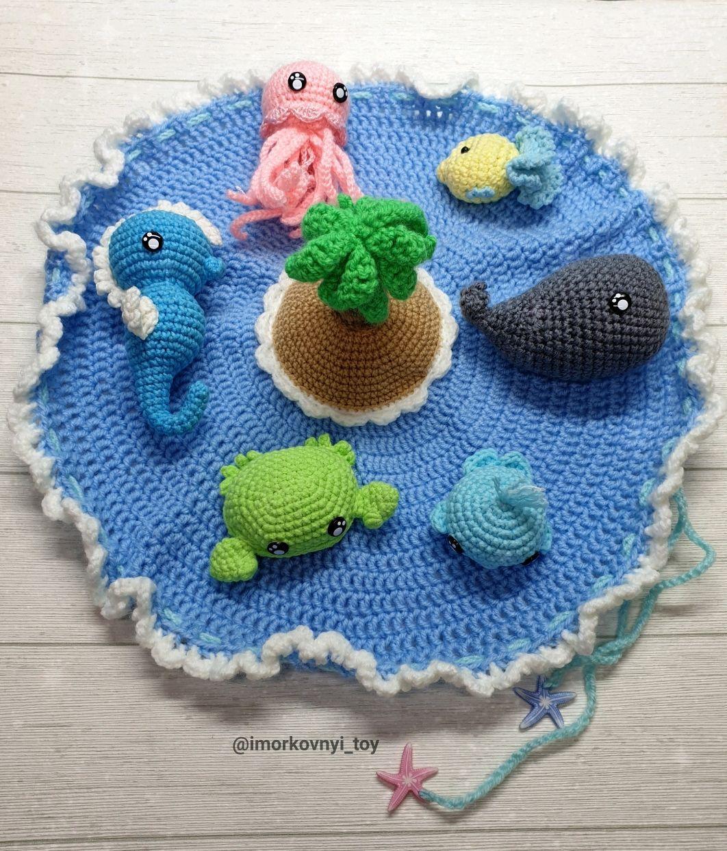 Морские обитатели набор кит, краб, рыба, медуза вязаные ...