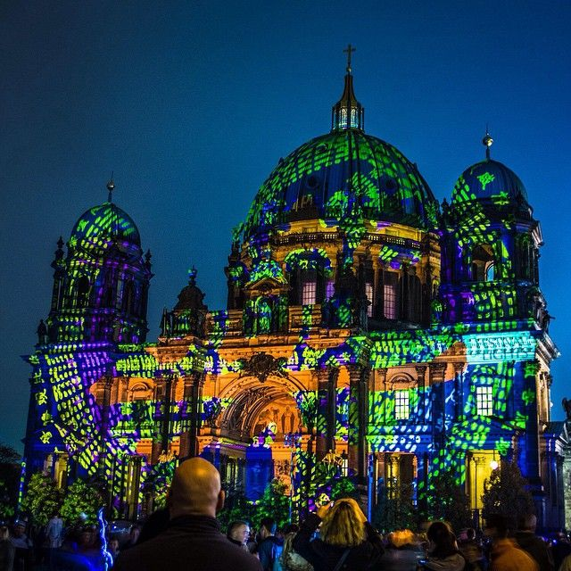 Happening Now: Berlin's Festival of Lights, a week when monuments and historic buildings are adorned in a frenzy of colorful lights. Photo courtesy of nodestinations on Instagram.