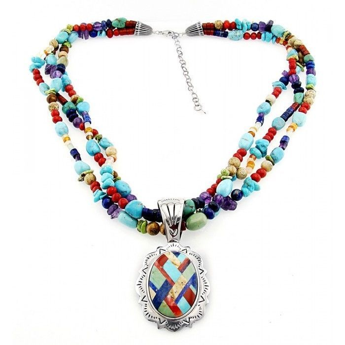 Southwestern Gemstone Necklace with Large Sterling Silver Inlay ...