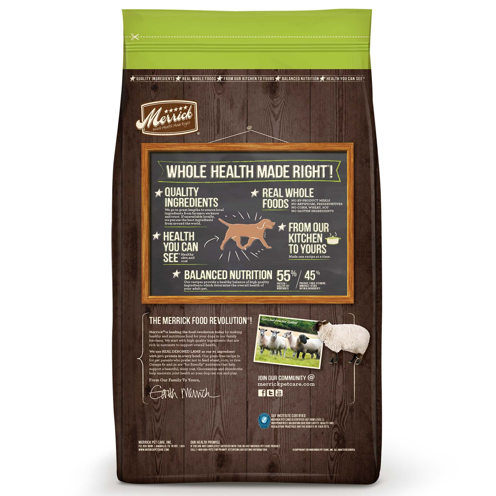 Merrick Grain Free Real Lamb Sweet Potato Dry Dog Food 4 Lbs
