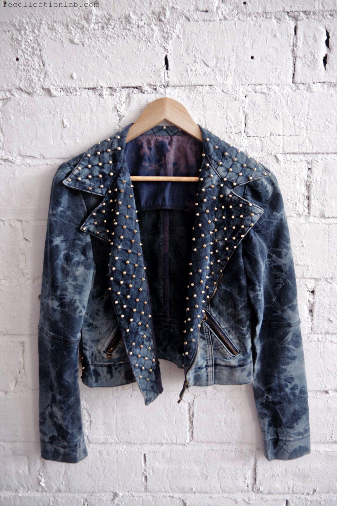 motorcycle denim jacket jeans tiedye bleach upcycle