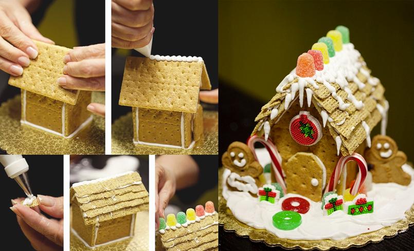 postres para navidad casitas de galleta y glaseado recetn